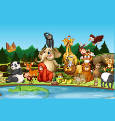Many cute animals pond vector