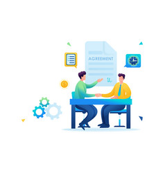 Merger of companies businessmen sign an agreement vector