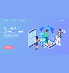 mobile app development isometric interface vector image