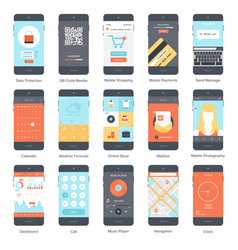 Mobile ui set vector