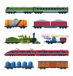 modern and old trains collection side view of vector image