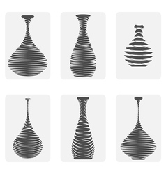 Monochrome icon set with amphora vector