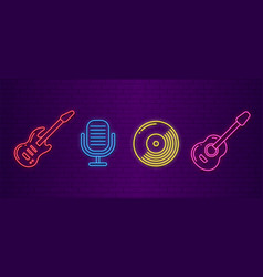 music icons neon musical instruments signs vector image