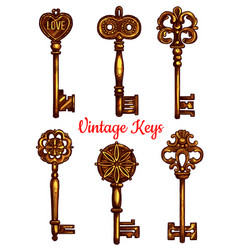 Old vintage metal keys isolated icons set vector