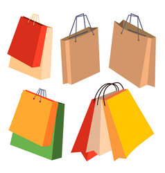 paper shopping bags set with handles vector image