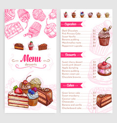 Pastry menu with dessert cakes and pies vector