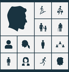 people icons set collection of grandpa family vector image