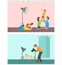 Photographer takes photo parents and kid in studio vector