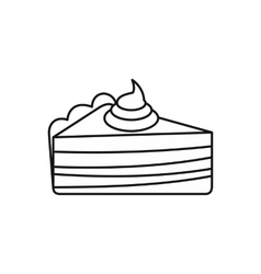 Piece of cake with cream icon outline style vector