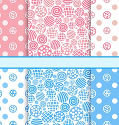 Pink and blue set of polka dot fabric seamless vector image