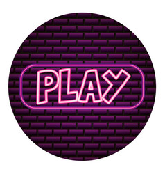 play button neon video game vector image
