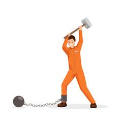 Prisoner breaking shackles flat vector