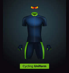 realistic cycling uniform template blue vector image
