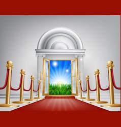 Red carpet door to your future vector