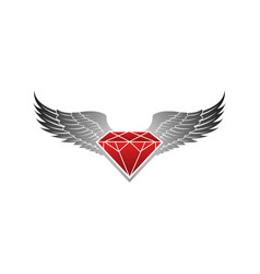 Red winged with grey diamond logo vector