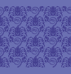 repaint seamless pattern blue scorpions vector image