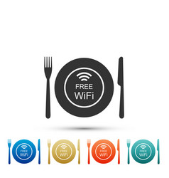 Restaurant free wi-fi zone plate fork knife vector