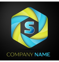 S Letter colorful logo in the hexagonal on black vector image