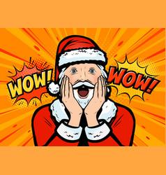 santa claus surprised pop art retro comic style vector image