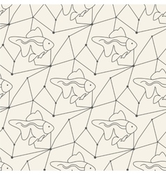 Seamless fish pattern tile background geometric vector image