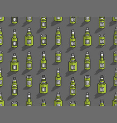 seamless pattern with isometric beer bottles vector image