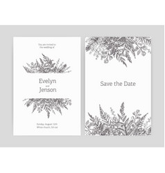 Set floral wedding invitation and save date vector