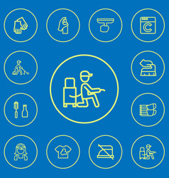 set of 12 editable cleaning icons line style vector image