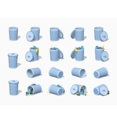 Set of the low poly trash cans vector image
