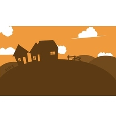 Silhouette of house in hill vector