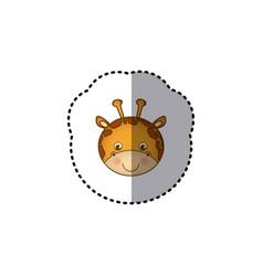 small sticker colorful picture face cute giraffe vector image