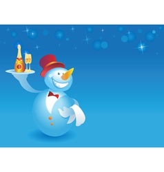 Snowman-waiter with champagne on blue vector image