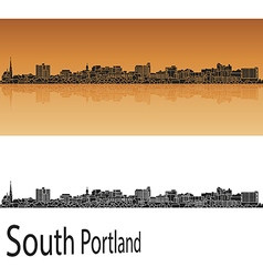 South portland skyline in orange vector
