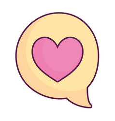 speech bubble love heart message isolated design vector image