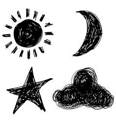 Sun moon star cloud vector