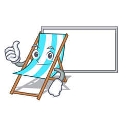 Thumbs up with board beach chair character cartoon vector