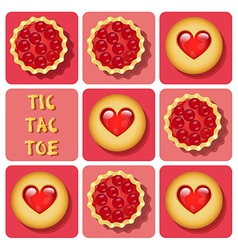 Tic-tac-toe cookie and tart vector
