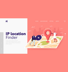Tiny characters orienteering at huge paper map vector