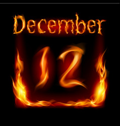 Twelfth december in calendar of fire icon on vector