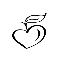 vegan growth tree love heart logo vector image