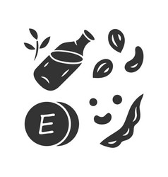 vitamin e glyph icon peanuts peas and beans seed vector image