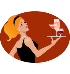 waitress with drinks vector image