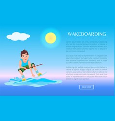 Wakeboarding web online poster kitesurfing boy vector