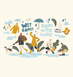 Wet games with puddles in rainy autumn or spring vector