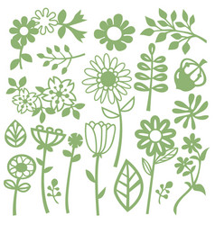 Whimsical flowers and leaves vector