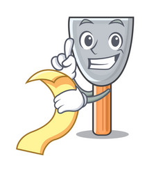 With menu cartoon putty knife in plaster vector