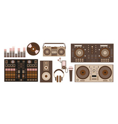 with retro dj accessories dj vector image