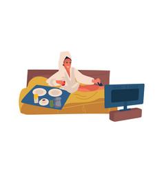 Woman spending weekend at home cartoon female vector