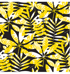 yellow and black geometric summer seamless pattern vector image