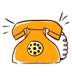yellow retro telephone on white background vector image