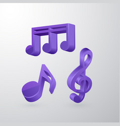a set of voluminous musical notes of violet color vector image